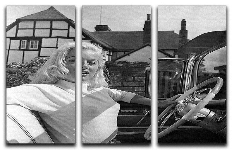 Diana Dors in her car 3 Split Panel Canvas Print - Canvas Art Rocks - 1