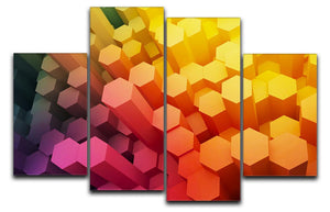 Dimensional Hexagons 4 Split Panel Canvas - Canvas Art Rocks - 1