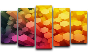 Dimensional Hexagons 5 Split Panel Canvas - Canvas Art Rocks - 1