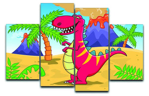 Dinosaur Volcano Cartoon 4 Split Panel Canvas  - Canvas Art Rocks - 1