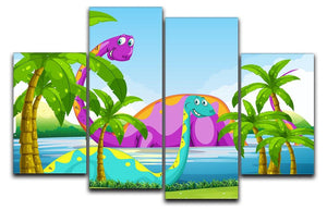 Dinosaur having fun in the lake 4 Split Panel Canvas  - Canvas Art Rocks - 1