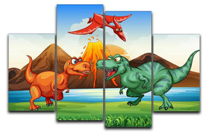 Dinosaurs fighting 4 Split Panel Canvas  - Canvas Art Rocks - 1