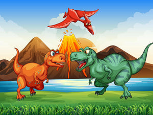 Dinosaurs fighting Wall Mural Wallpaper - Canvas Art Rocks - 1