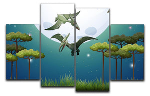 Dinosaurs flying on fullmoon 4 Split Panel Canvas  - Canvas Art Rocks - 1