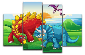 Dinosaurs in the park 4 Split Panel Canvas  - Canvas Art Rocks - 1