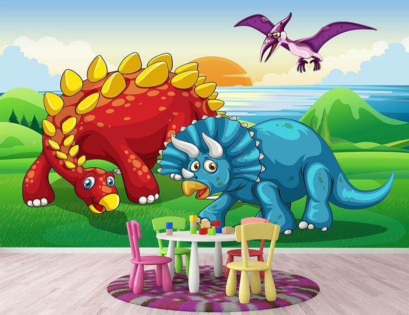 Dinosaurs in the park Wall Mural Wallpaper - Canvas Art Rocks - 1