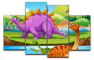 Dinosaurs living by the river 4 Split Panel Canvas  - Canvas Art Rocks - 1