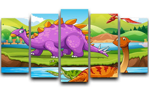 Dinosaurs living by the river 5 Split Panel Canvas  - Canvas Art Rocks - 1