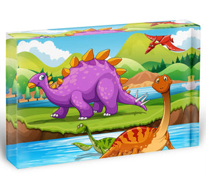 Dinosaurs living by the river Acrylic Block - Canvas Art Rocks - 1