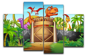 Dinosaurs living in Dino park 4 Split Panel Canvas  - Canvas Art Rocks - 1