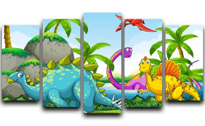 Dinosaurs living in the jungle 5 Split Panel Canvas  - Canvas Art Rocks - 1