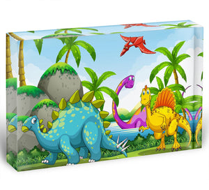 Dinosaurs living in the jungle Acrylic Block - Canvas Art Rocks - 1