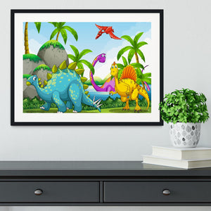 Dinosaurs living in the jungle Framed Print - Canvas Art Rocks - 1