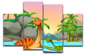 Dinosaurs living in the ocean 4 Split Panel Canvas  - Canvas Art Rocks - 1