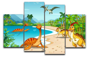 Dinosaurs living on the beach 4 Split Panel Canvas  - Canvas Art Rocks - 1