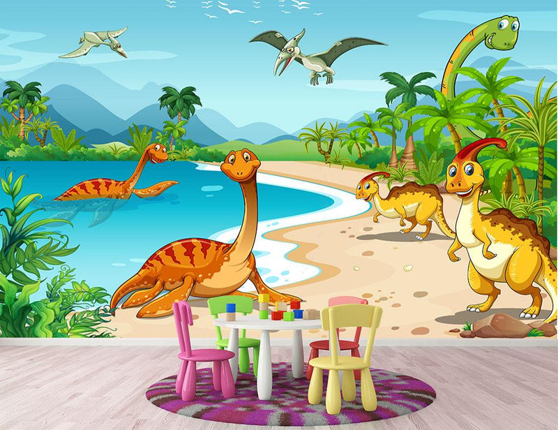 Dinosaurs living on the beach Wall Mural Wallpaper - Canvas Art Rocks - 1