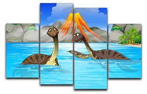 Dinosaurs swimming in the lake 4 Split Panel Canvas  - Canvas Art Rocks - 1