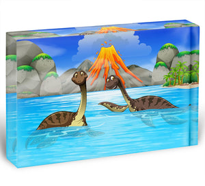 Dinosaurs swimming in the lake Acrylic Block - Canvas Art Rocks - 1