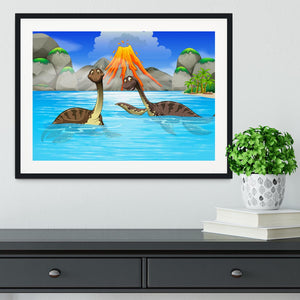 Dinosaurs swimming in the lake Framed Print - Canvas Art Rocks - 1