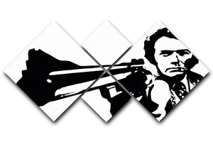 Dirty Harry 4 Square Multi Panel Canvas  - Canvas Art Rocks - 1