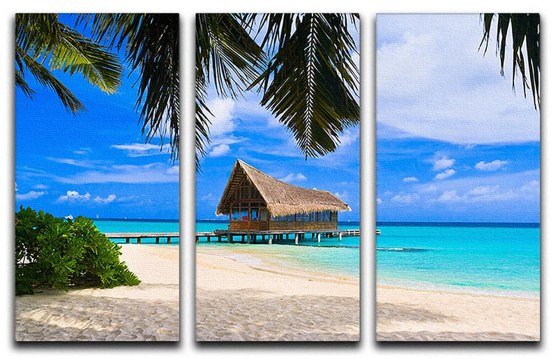 Diving club on a tropical island 3 Split Panel Canvas Print - Canvas Art Rocks - 1