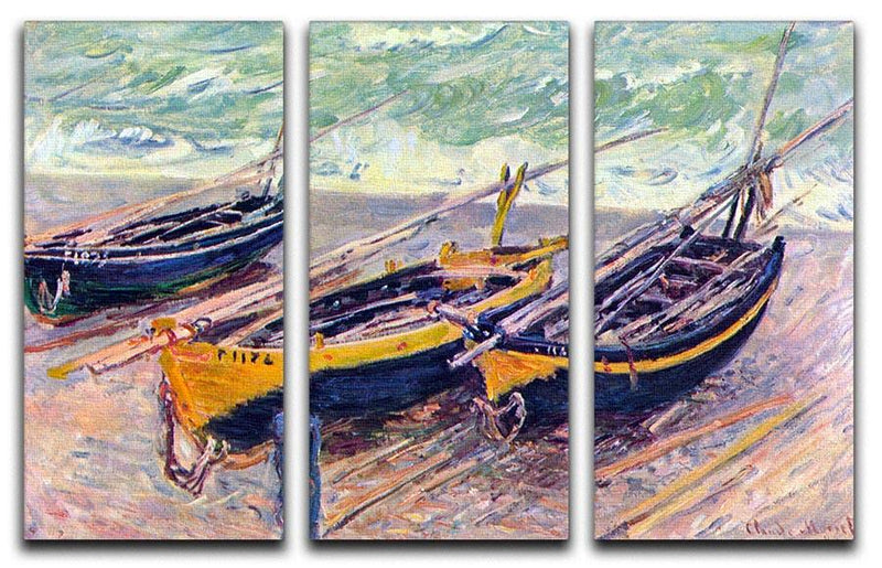 Dock of etretat three fishing boats by Monet Split Panel Canvas Print - Canvas Art Rocks - 4