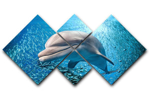 Dolphin underwater on ocean 4 Square Multi Panel Canvas  - Canvas Art Rocks - 1