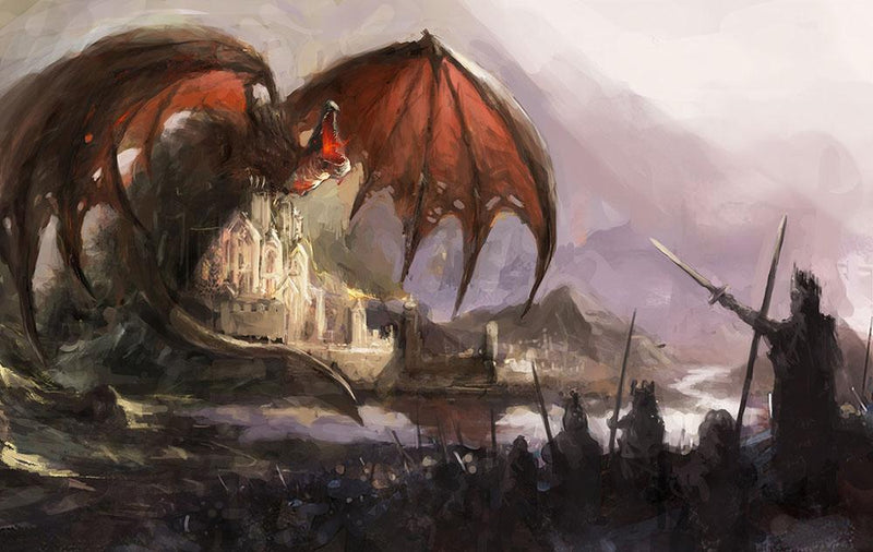 Dragon Wall Mural Wallpaper - Canvas Art Rocks - 1