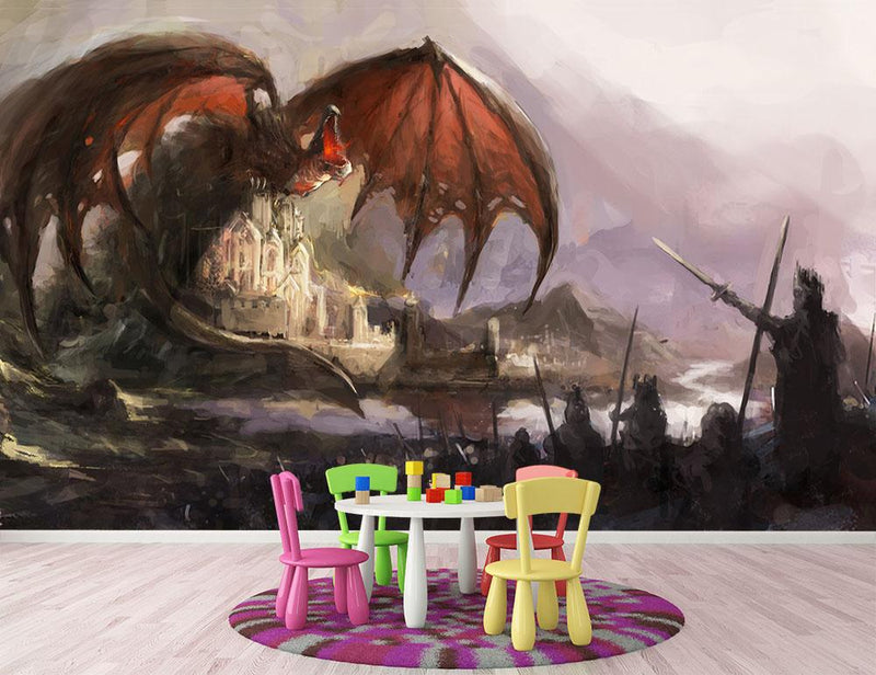 Dragon Wall Mural Wallpaper - Canvas Art Rocks - 2