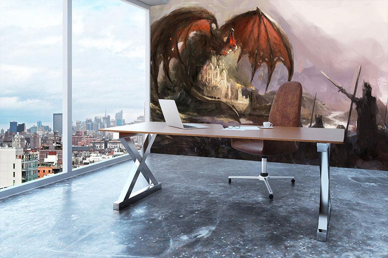 Dragon Wall Mural Wallpaper - Canvas Art Rocks - 3