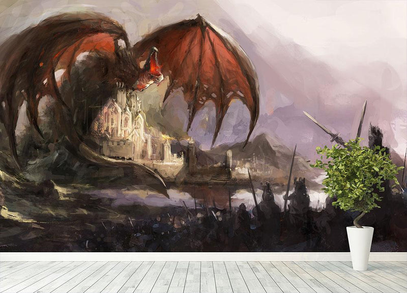 Dragon Wall Mural Wallpaper - Canvas Art Rocks - 4