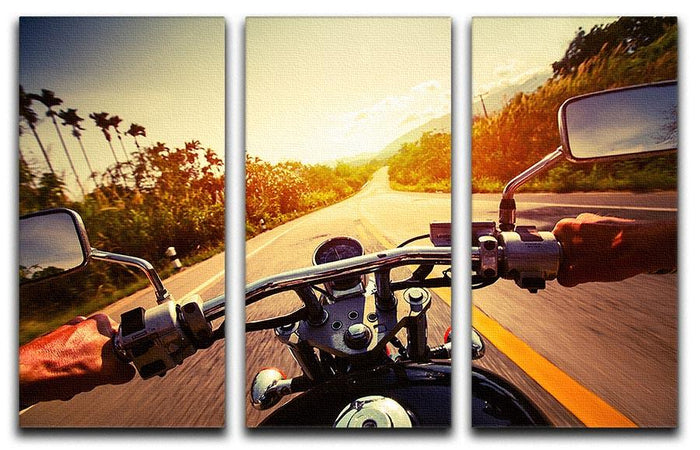 Driver riding motorbike 3 Split Panel Canvas Print