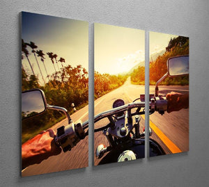 Driver riding motorbike 3 Split Panel Canvas Print - Canvas Art Rocks - 2