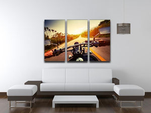 Driver riding motorbike 3 Split Panel Canvas Print - Canvas Art Rocks - 3