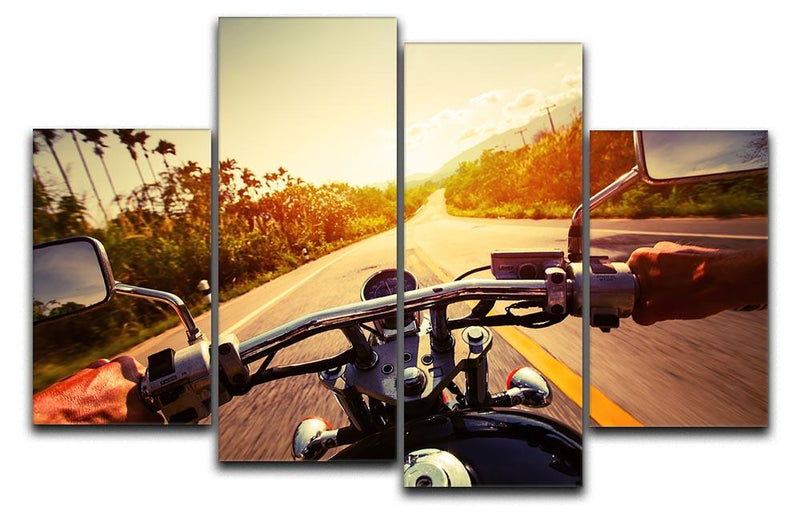Driver riding motorbike 4 Split Panel Canvas  - Canvas Art Rocks - 1