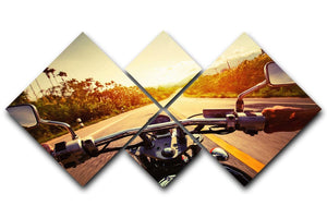 Driver riding motorbike 4 Square Multi Panel Canvas  - Canvas Art Rocks - 1