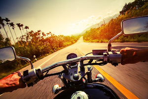 Driver riding motorbike Wall Mural Wallpaper - Canvas Art Rocks - 1