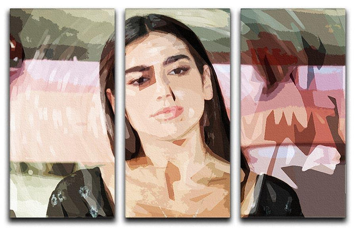 Dua Lipa Pop Art 3 Split Panel Canvas Print