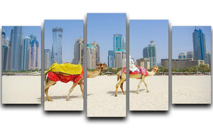 Dubai Camel on the town scape backround 5 Split Panel Canvas  - Canvas Art Rocks - 1