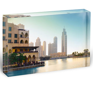 Dubai downtown at sunset Acrylic Block - Canvas Art Rocks - 1