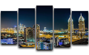 Dubai downtown night scene 5 Split Panel Canvas  - Canvas Art Rocks - 1