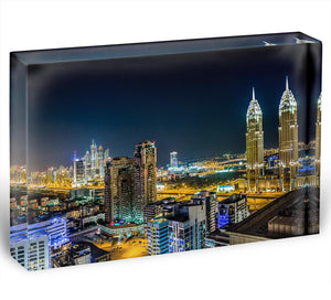 Dubai downtown night scene Acrylic Block - Canvas Art Rocks - 1