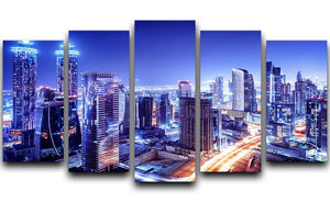 Dubai downtown night scene UAE 5 Split Panel Canvas  - Canvas Art Rocks - 1
