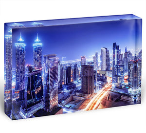 Dubai downtown night scene UAE Acrylic Block - Canvas Art Rocks - 1