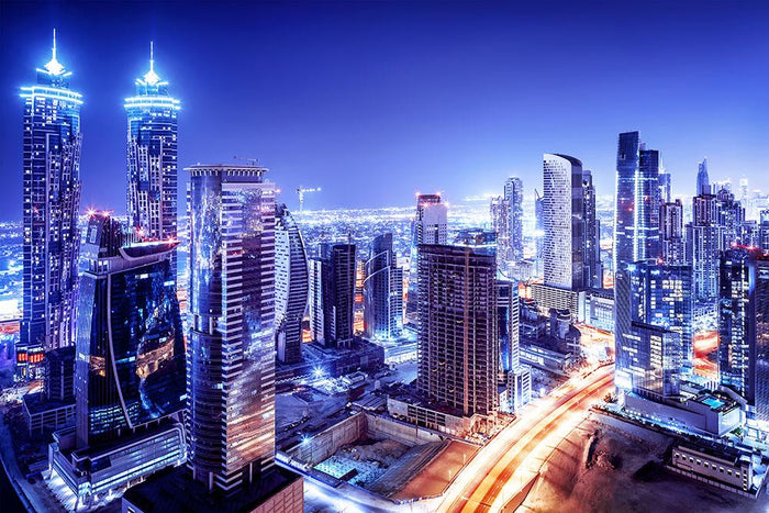 Dubai downtown night scene UAE Wall Mural Wallpaper