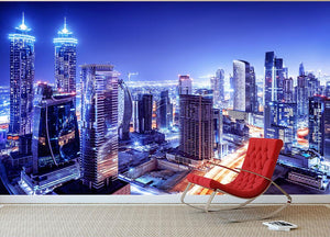 Dubai downtown night scene UAE Wall Mural Wallpaper - Canvas Art Rocks - 2