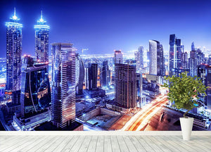 Dubai downtown night scene UAE Wall Mural Wallpaper - Canvas Art Rocks - 4
