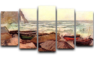 Durchbrochener rock at Etretat by Monet 5 Split Panel Canvas  - Canvas Art Rocks - 1