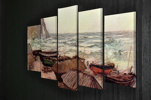 Durchbrochener rock at Etretat by Monet 5 Split Panel Canvas - Canvas Art Rocks - 2