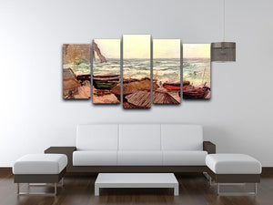 Durchbrochener rock at Etretat by Monet 5 Split Panel Canvas - Canvas Art Rocks - 3